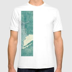 United States Of America Map Blue Vintage Mens Fitted Tee SMALL White
