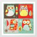 Mod Owls Art Print