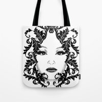 Black and white floral face ornament Tote Bag