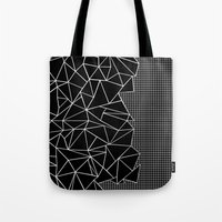 Abstract Grid Outline Wh… Tote Bag