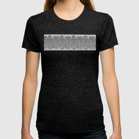 Newspaper Stripe Womens Fitted Tee Tri-Black SMALL