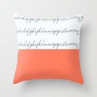 Alphabet-Coral  Throw Pillow