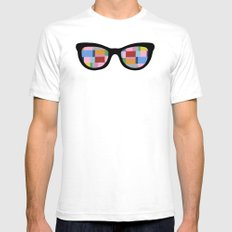 Square Eyes on Grey White SMALL Mens Fitted Tee