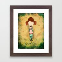 Green Tea Girl Framed Art Print