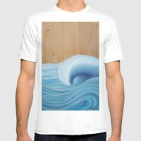 Wooden Wave Scape Mens Fitted Tee White SMALL
