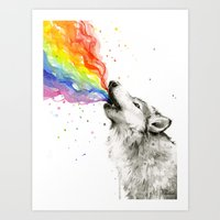 Wolf Rainbow Watercolor Howling Art Print