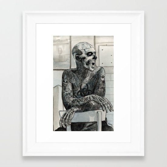 Zombie Boy Framed Art Print