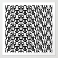 Black White Waves Art Print