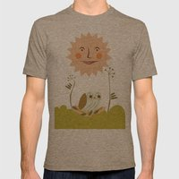 Owl sun Mens Fitted Tee Tri-Coffee SMALL