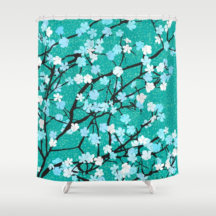 Blue Floral Print Shower Curtain By Rceeh Society6