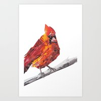 Red Cardinal Bird Collage Art Print