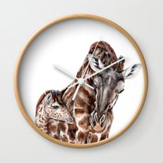 Giraffe with Baby Giraffe Wall Clock