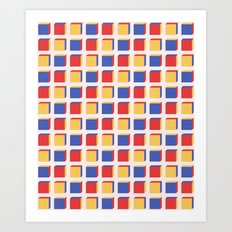 Three Colors Cube Geometry Pattern Art Print