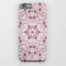 Vintage Raspberry Pink and Paris Gray Earth Mandala with Hearts iPhone 6 Slim Case