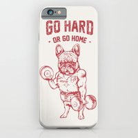 iPhone Cases featuring GO HARD OR GO HOME FRENCHIE by Huebucket