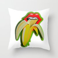 Banana Lips Throw Pillow