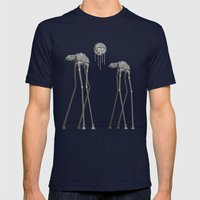 Dali's Mechanical Elephants - Black Sky Mens Fitted Tee Navy SMALL