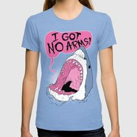 I Got No Arms Womens Fitted Tee Tri-Blue SMALL