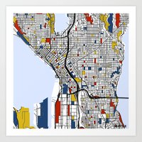 seattle Art Prints featuring Seattle by Mondrian Maps