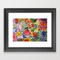 Pastel Flower Swirls Framed Art Print