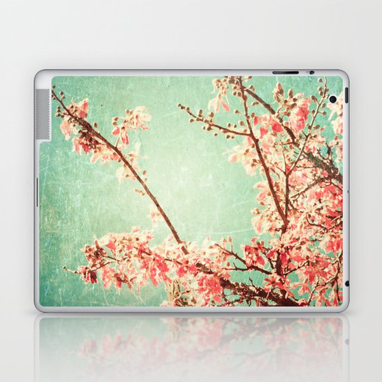 Pink Autumn Leafs on Blue Textured Sky (Vintage Nature Photography) Laptop & iPad Skin