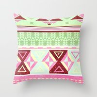 Neon Aztec Throw Pillow