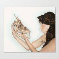 Confrontation, animal skull and human Canvas Print
