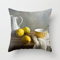 Three lemons Throw Pillow