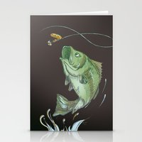Bass Jumping At Night Stationery Cards