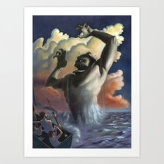 Suddenly the beast arose from the waters, Art Print