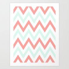 Mint & Coral Chevron Art Print