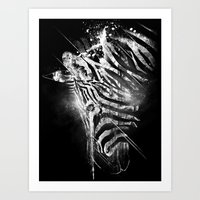 Zebra Mood - White Art Print