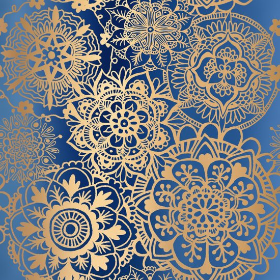 blue gold mandala pattern