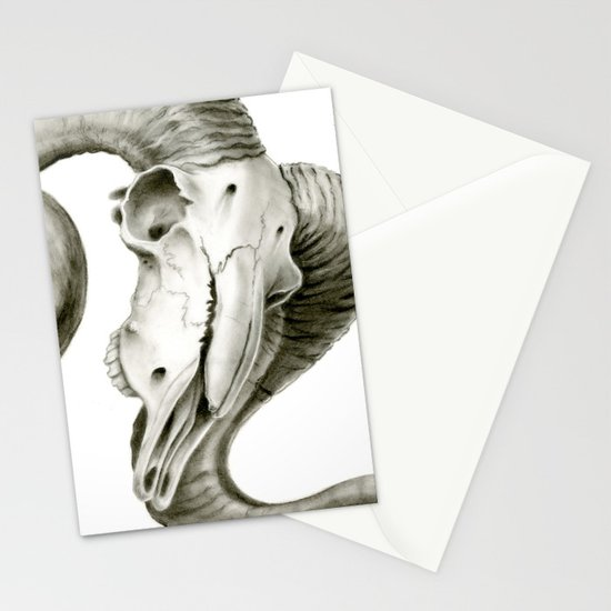Bighorn Sheep Skull Stationery Cards by Mica Low | Society6