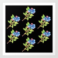 Wild Maine Blueberries Allover Print Art Print