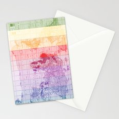 Rainbow World Map Stationery Cards
