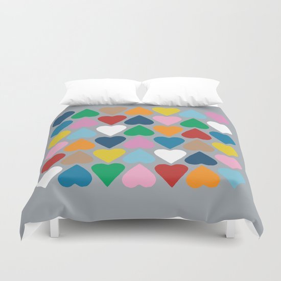 Up and Down Hearts on Grey Duvet Cover
