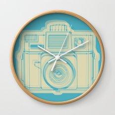 I Still Shoot Film Holga Logo - Turquoise/Tan Wall Clock