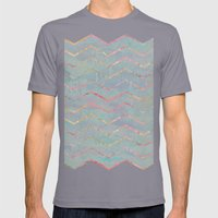 Chevron Rainbows Mens Fitted Tee Slate SMALL