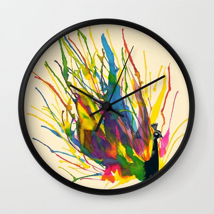 colorful peacock wall clock by tobe fonseca society6