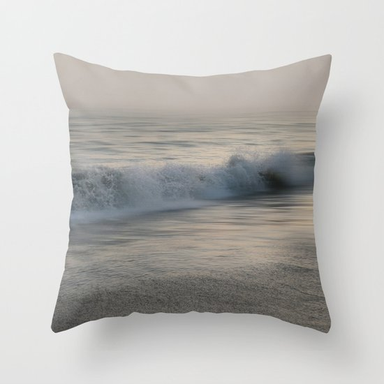 Misty Morning At Sea Throw Pillow