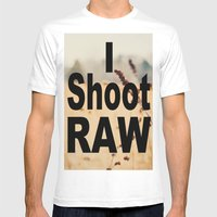 I SHOOT RAW Mens Fitted Tee White SMALL