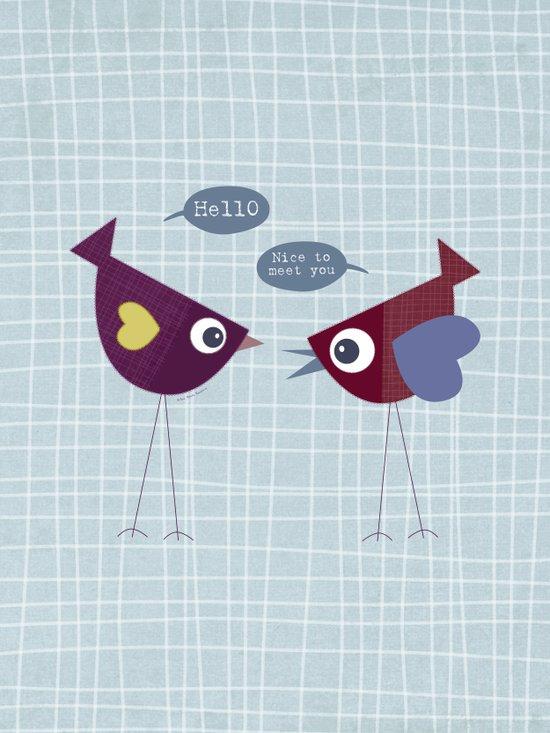 Hello Nice to Meet You Bird Art Print