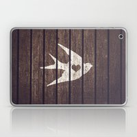 Vintage White Love Heart Bird Wood Panels Stripes Laptop & iPad Skin