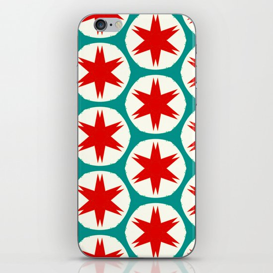 Retro Red Stars II iPhone & iPod Skin