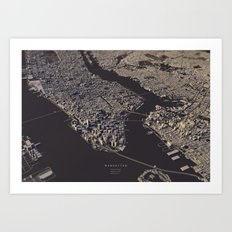 Manhatten city map II Art Print