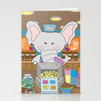 Elsa in the Coffee Shop  - Fun, sweet, creative and colorful, original,digital children illustration Stationery Cards