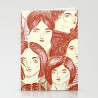 girls Stationery Cards featuring Girls by Katty Huertas