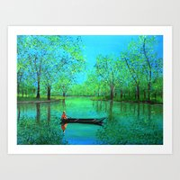 Lake reflection Art Print