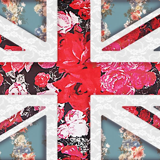 God save the Queen | Elegant girly red floral & lace Union Jack  Art Print